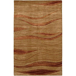Hand-Knotted Red/Beige Mandara Wool Rug (7'9 x 10'6)