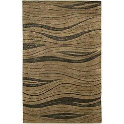Hand-Knotted Sage/Beige Mandara Wool Rug (7'9 x 10'6)