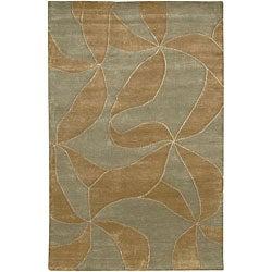 Hand-knotted Mandara Green Wool Rug (7'9 x 10'6)