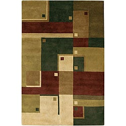 Hand-Knotted Mandara Multicolor Modern Wool Rug (7'9 x 10'6)