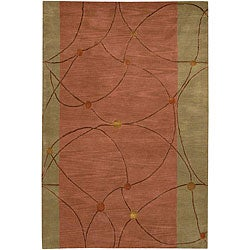 Hand-Tufted Green/Brown Mandara Wool Rug (7'9 x 10'6)