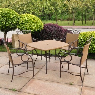 International Caravan Valencia 5-piece Outdoor Resin Wicker/ Steel Dining Set