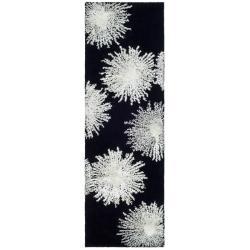 Safavieh Handmade Soho Burst Black New Zealand Wool Runner (2'6 x 6')