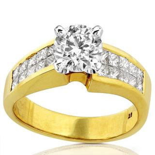Annello 18k Yellow Gold 2ct TDW Diamond Engagement Ring (F-G, I1-I2)