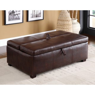 Furniture of America Kaya Bicast Leather Ottoman/ Sleeper