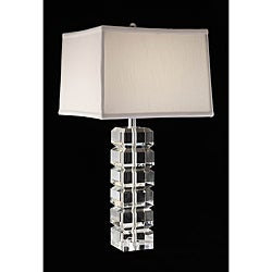 Squared Block 3-way Crystal and Chrome Table Lamp