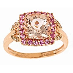 Anika and August D'Yach 10k Rose Gold Morganite, Sapphire and 1/10ct TDW Diamond Ring (I-J, I1-I2)