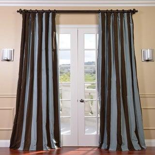 Signature Stripe Chocolate/ Blue Faux Silk Taffeta Curtain Panel (50 in. x 96 in.)