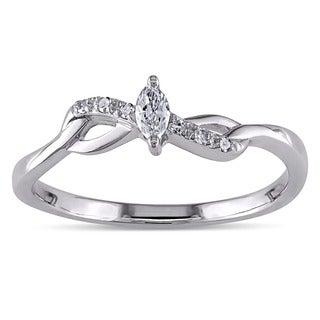Miadora 10k Gold 1/10ct TDW Marquise Twist Diamond Promise Ring (H-I, I2-I3)