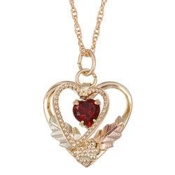 Black Hills Gold Garnet Heart Necklace