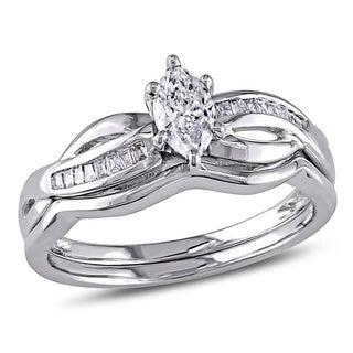 Miadora 14k White Gold 1/2ct TDW Marquise Diamond Bridal Set (G-H, I1-I2)