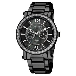 Akribos XXIV Men's Stainless Steel Swiss Diamond Watch