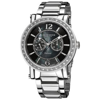 Akribos XXIV Men's Stainless Steel Swiss Day/ Date Diamond Watch