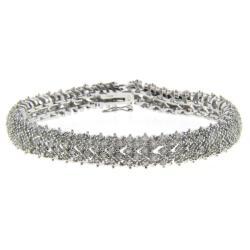 Finesque Sterling Silver 2ct TDW Diamond Pave Bracelet (I-J, I2-I3)