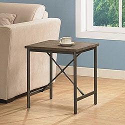 Elements Cross-design Grey End Table