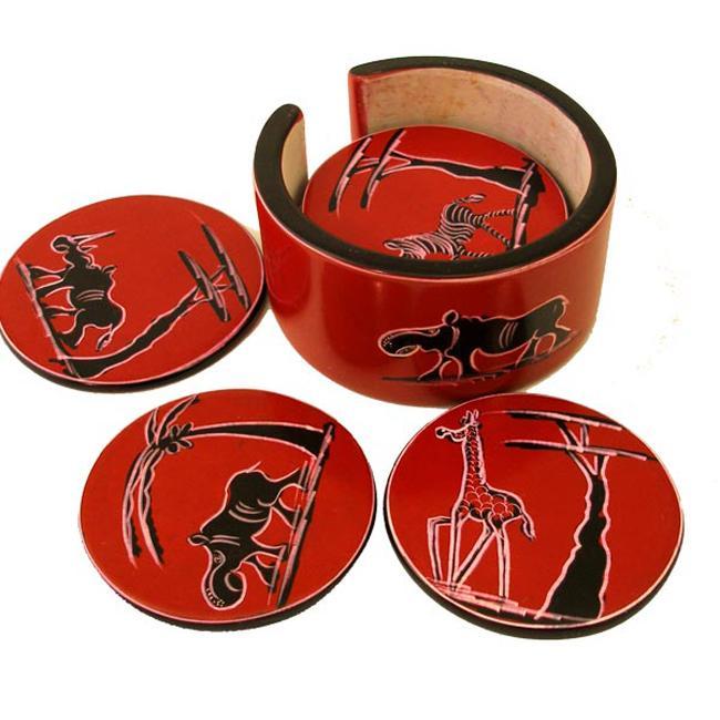 Set of 6 Handmade Red Soapstone Coasters (Kenya)