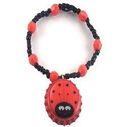 Red Ladybug Bottle Cap Charm Bracelet
