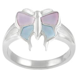 Journee Collection Highly Polished Sterling Silver Mother of Pearl Butterfly Ring