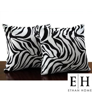 ETHAN HOME Zebra Print Throw Pillows (Set of 2)