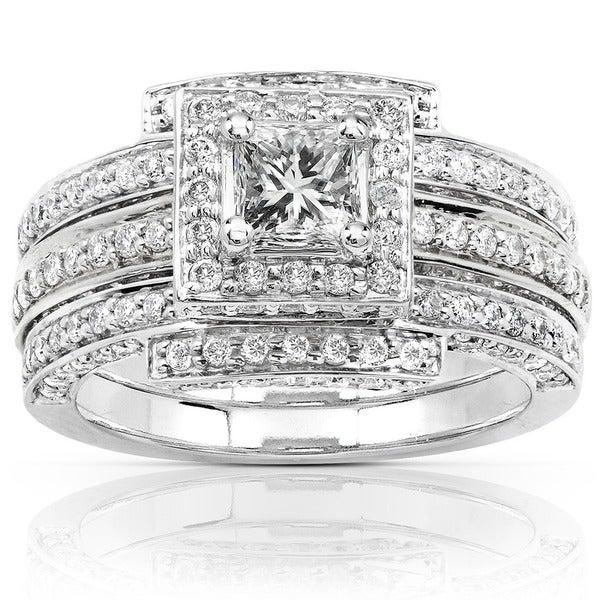 Annello 14k White Gold 1 1/2ct TDW Diamond Princess Halo Bridal Ring Set (H-I, I1-I2)