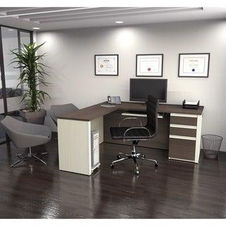 Bestar Prestige L-shaped Desk with Pedestal