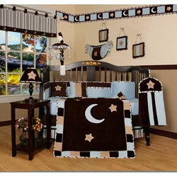 Blue Moon and Star 13-piece Crib Bedding Set