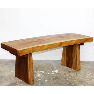 Hand-carved Wooden Natural Walnut Oil Edge Bench (Thailand)