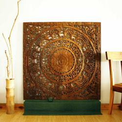 Reclaimed Teak Wood Natural Wax 48-inch 3D Lotus Panel (Thailand)