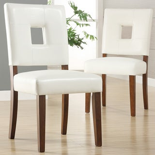 TRIBECCA HOME Calvados Faux Leather White Side Chairs (Set of 2)