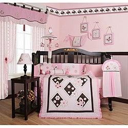 Pink Butterfly 13-piece Crib Bedding Set