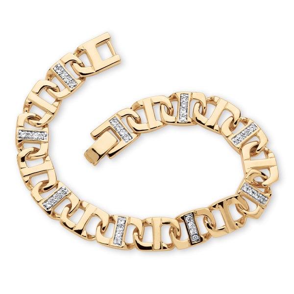 "PalmBeach Men's 1.19 TCW Round Cubic Zirconia Mariner-Link Bracelet in 14k Gold-Plated 8"""
