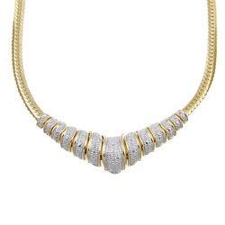 PalmBeach 18k Gold over Silver 1/8ct TDW Diamond Chevron Necklace (H-I, I2-I3)
