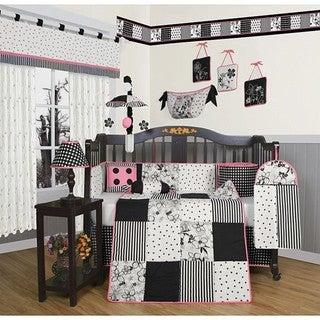 Black and White Flower Dots 13-piece Crib Bedding Set
