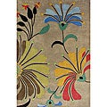 Hand-tufted Metro Flower Beige Wool Rug (9' x 12')