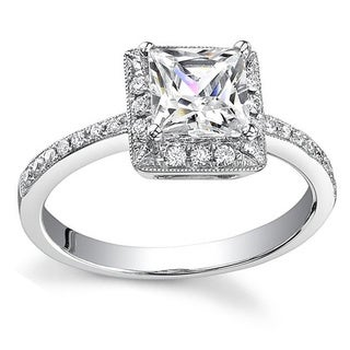 18k Gold 3/4ct TDW Princess Diamond Halo Engagement Ring (H, SI1-SI2)