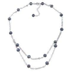 Kabella Sterling Silver Black Freshwater Pearl Necklace (7-8 mm)