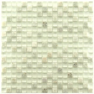 SomerTile 12x12-in Reflections Mini 5/8-in Ming Glass/Stone Mosaic Tile (Pack of 10)