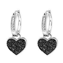 Sterling Silver 1/2ct TDW Black and White Diamond Heart Hoop Earrings (H-I, I2-I3)