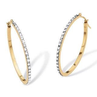 PalmBeach 14k Gold Diamond Accent Hoop Earrings