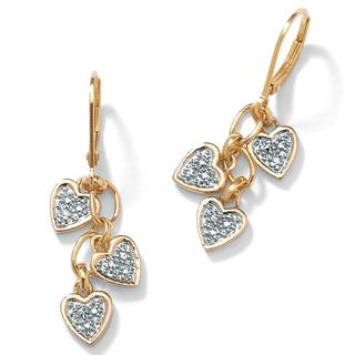 PalmBeach 18k Gold over Silver Diamond Accent Heart Dangle Earrings