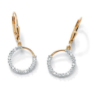 PalmBeach 18k Yellow Gold over Silver Diamond Accent Earrings