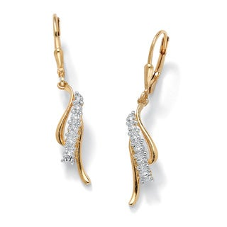 PalmBeach Diamond Accent Waterfall Drop Earrings in 18k Gold over Sterling Silver