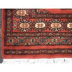 Pakistani Hand-knotted Rust/ Ivory Bokhara Wool Rug (3' x 5')