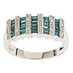 D'Yach 14k Gold 5/8ct TDW Blue and White Diamond Cocktail Ring (I-J, I1-I2)