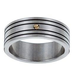 Kabella Men's Stainless-Steel 18-karat Gold Accent Band Ring