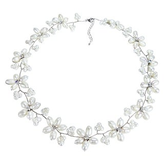 Intricate White Pearl Flower Link Necklace (3-10 mm) (Thailand)