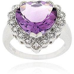 Glitzy Rocks Sterling Silver Amethyst and Cubic Zirconia Heart Ring