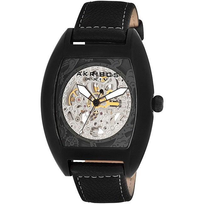 Akribos XXIV Men's Black Stainless Steel Skeleton Automatic Tonneau Strap Watch