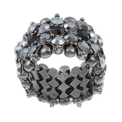 Celeste Gunmetal Black Crystal 5-row Stretch Fashion Ring