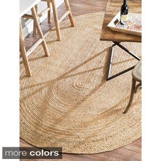 nuLOOM Alexa Eco Natural Fiber Braided Reversible Jute Rug (5' x 8' Oval)